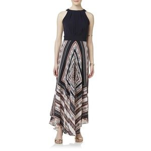 Sandra Darren Black Halter Maxi Dress Paisley